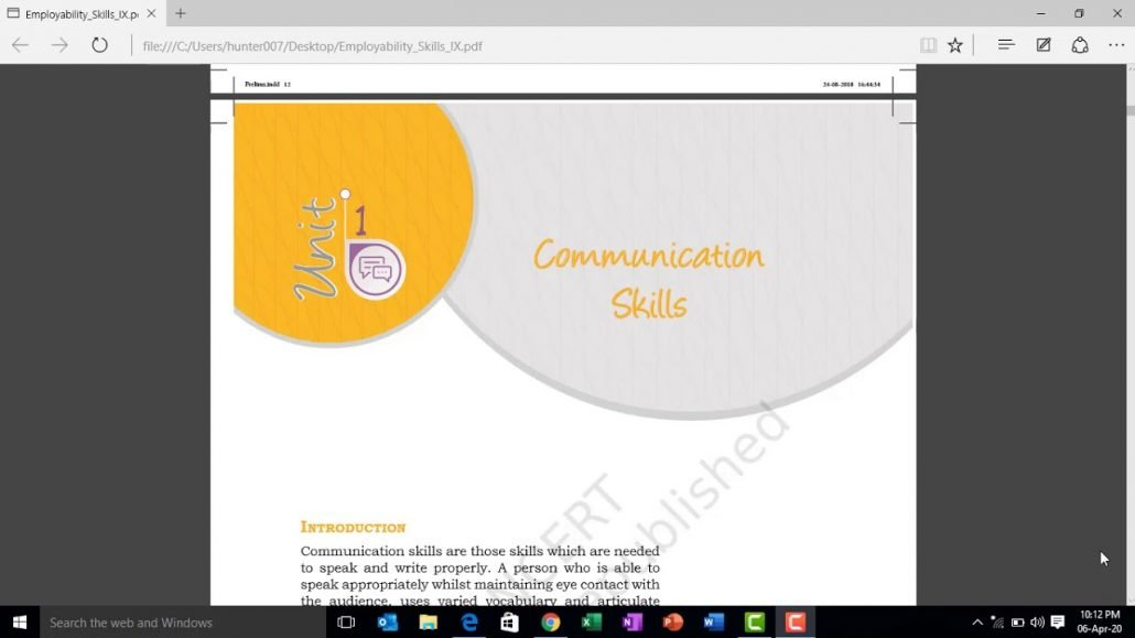 CBSE class IX Information Technology employability skills Unit 1 communication skills