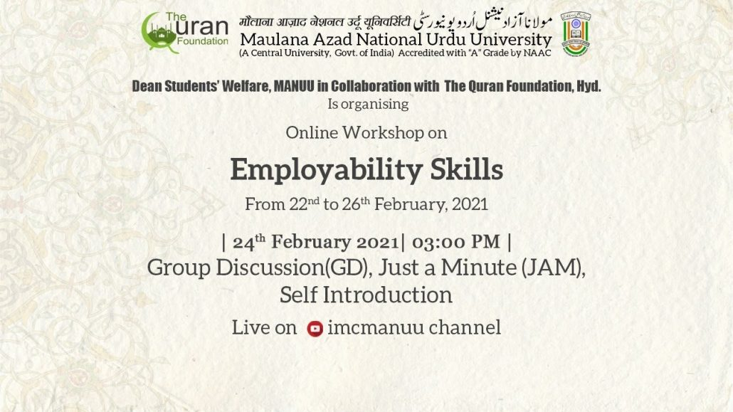 Group DiscussionGD Just a Minute JAM Self Introduction Employability Skills WorkshopMANUU